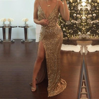 2016 Latest Design spaghetti strap womens sequin maxi dresses High Split sexy Gold long dress Prom Ball Gown Party Dress