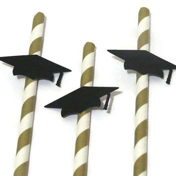 graduation decorations, 2015 graduation cap party straws, 10 gold drinking straws with grad caps, party supplies