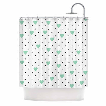 """Project M """"Pin Point Polka Dot Mint"""" Green White Shower Curtain"""