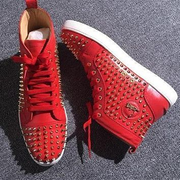 Christian Louboutin CL Louis Spikes Style #1879 Sneakers Fashion Shoes Online