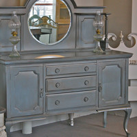 SALE Elegant Formal Hutch with Round Bevelled by CasualChicCorner