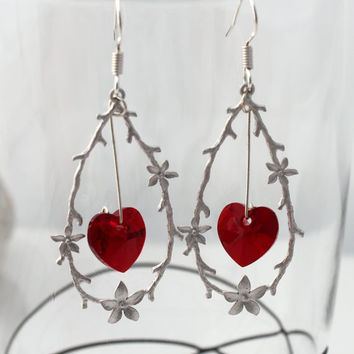 Woodland twig and flowers loop love earrings with hanging red Swarovski crystal hearts- Sterling silver hooks