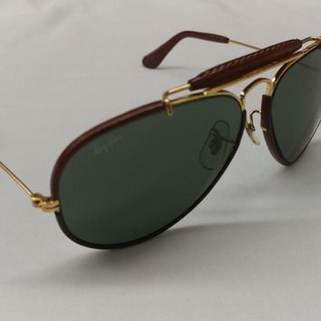 Vintage B&L Ray Ban USA Leathers Aviator Sunglasses 58 [] 14 With Case