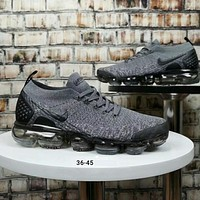 Nike Air VaporMax Flyknit Fashion Women Men Casual Air Cushion Shock Absorption Sport Running Shoe Sneakers Grey I-A50-XYZ