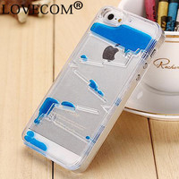 LOVECOM Ladder Water Column Dynamic Liquid Quicksand Hard Case Cover For iPhone 5 5S SE Transparent Clear Phone Case YC608