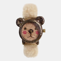 Vintage Retro Steampunk Handcraft Watch. Handstitch Leather Band /// A cute little bear GomGom - Perfect Gift for Birthday and Anniversary