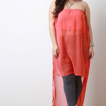 Chiffon Strapless Side Slit High Low Top