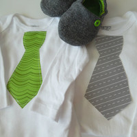 NEW Spring 2013 boy, baby set, shoes, bodysuit, gift set 'Spring Grass' Shoes and Lil Man Tie Shirt....Newborn to 24 months