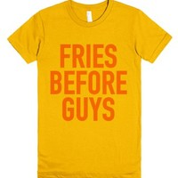 Fries Before Guys T-Shirt Yellow (IDA911813)-Female Gold T-Shirt