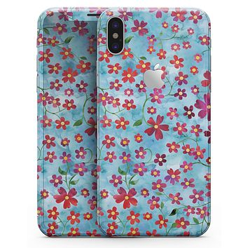 Flowers with Stems over Light Blue Watercolor - iPhone X Skin-Kit