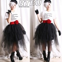 Punk Goth Puffy Swan Ballerina Irregular Broom Fairy TuTu Mesh Tulle Calf Skirt