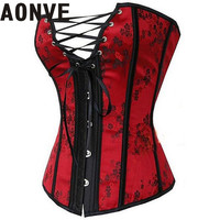 Corselet Corsets and Bustiers Lace Up Floral Overbust Corset Steampunk Red Bustier Gothic Sexy Lingerie Hot Korsett for Women