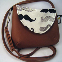 Mustache Fabric Purse in Alexander Henry Where's My Stache, Brown Faux Leather Cross Body Purse