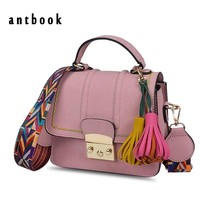 ANTBOOK 2017 New Arrive! Women Handbags High Quality Pu Leather Tassel Girl Shoulder Bag Wide Belt Women Messenger Bag