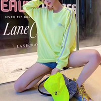 """""""Puma"""" Women Reflective Solid Color All-match Stripe Fluorescent Green Embroidery Long Sleeve Sweater Tops"""