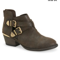 Aeropostale Womens Cut-Out Buckle Booties - Brown,