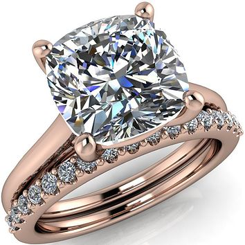 Willie Cushion Moissanite Bow Under Cathedral Engagement Ring