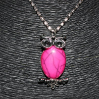 Silver/ Pink Oval Stone Owl Pendant Necklace