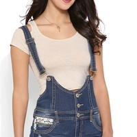 Almost Famous Denim Overall Short with Crochet Trim