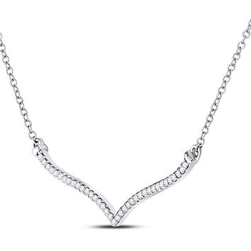 10k White Gold Round Diamond Contoured Bar Pendant Necklace 1/4 Cttw