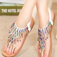 Unique Color Rhinestone Bling Flat Sandals from styleonline