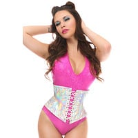Top Drawer Silver Holo Short Under Bust Corset