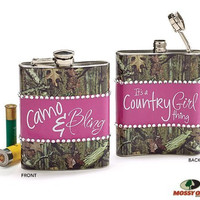 "Mossy Oak Camouflage 8oz Flask Accented ""Camo & Bling"" and ""Country Girl"""