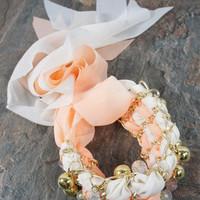 """""""tie up the loose ends"""" bracelet in taupe and peach - three bird nest"""
