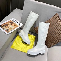 Fendi Trending Women's men Leather Side Zip Lace-up Ankle Boots Shoes High Boots
