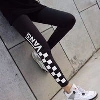 VANS Women Fashion Print Yoga Running Leggings Pants Trousers Sweatpants