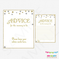 Twinkle Twinkle Little Star Baby Shower, Advice for Mommy To Be, Mom Advice Cards, Silver Gold Baby Shower Girl Boy, Advice for Parents STSG