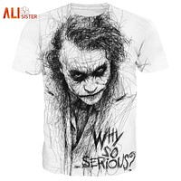 Alisister Plus Size 3XL-5XL Cool Joker T Shirt Summer Why So Serious Harajuku T-shirt Crew Neck Casual Tee Shirt Homme De Marque