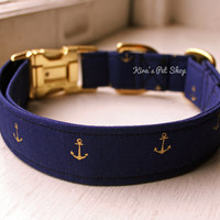 Handmade Dog Collar - Limited Edition Navy & Gold Anchors Dog Collar w/ Metal Adjustable Buckle - Fabric Dog Accessories Pet Accessory