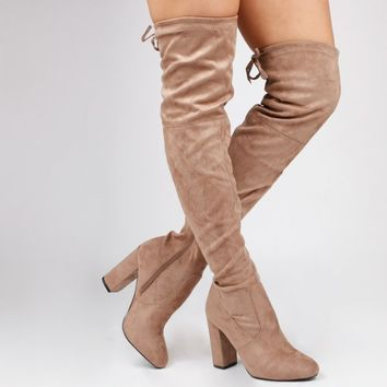 Ivy Over The Knee Mocha Faux Suede Boots