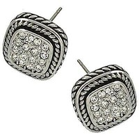 Roped Square Silver Stud Earrings