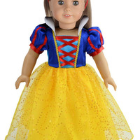 Ebuddy  Halloween Costume Inspired by Snow White Doll Clothes Dress Outsuits For 18 inch American Girl Doll