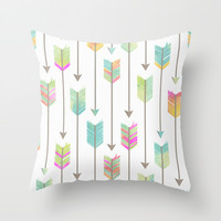 Tribal Watercolor Arrows Pattern Throw Pillow by Cute To Boot