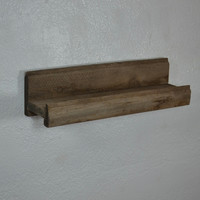 Small picture ledge shelf light gray reclaimed wood 16 wide