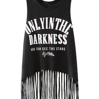 Letter Print Sleeveless Fringed Tank