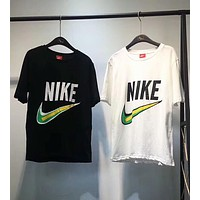 Nike Popular Women Men Summer Color Matching Big Logo Print Short Sleeve T-Shirt Top I-XMCP-YC
