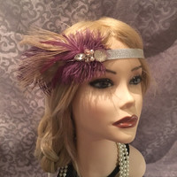 Purple Brown Silver Crystal Rhinestone Pearl Feather Flapper Headband Headpiece Art Deco 1920s 20s style head piece band Headdress (703)