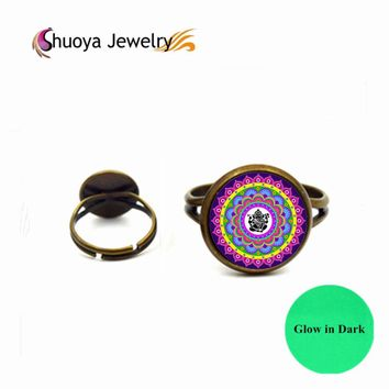 Mandala Ring Glowing S&Y 2017 New Vintage Silver Color Glass Jewelry Men Rings For Women Glow In Dark Big Rings For Women
