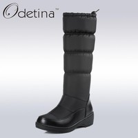 Odetina Waterproof Snow Boots Large Size Women Knee High Boots Flat Heels Handmade 2017 Winter Boots Women Fashion Shoes Brand
