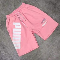 PUMA Summer Popular Women Men Print Sports Running Shorts Pink