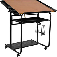 Adjustable Drawing and Drafting Table with Black Frame and Dual Wheel Casters NAN-JN-2739-GG