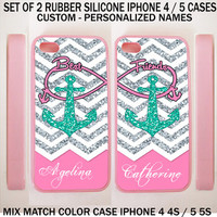PERSONALIZED PINK CHEVRON MINT ANCHOR BFF Best Friends Case For iPhone 6S 5S SE