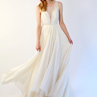 Lace illusion and silk chiffon gown - Colette