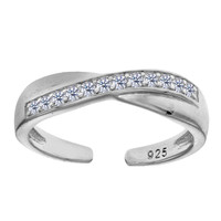 Sterling Silver Rhodium Plated Micropave With CZ Crossover Design Cuff Style Adjustable Toe Ring