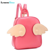 Fashion Panelled PU Leather Angel Wings Backpack Sweet Ladies Fashion Style Cute Mochila Bolsas Femininas School Rucksack CTT233