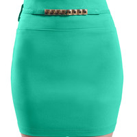 LE3NO Womens Basic Solid Bodycon Pencil Mini Skirt (CLEARANCE)